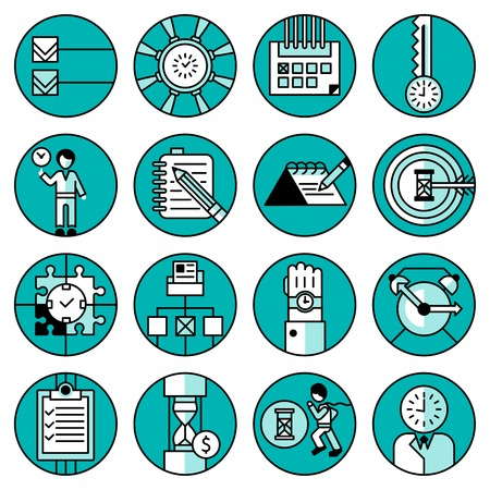 Time management office people running planning working training blue line icons set isolated vector illustration