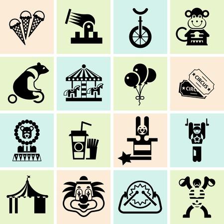 circus caravan: Circus entertainment black icons set with juggler lion icecream isolated vector illustration Illustration