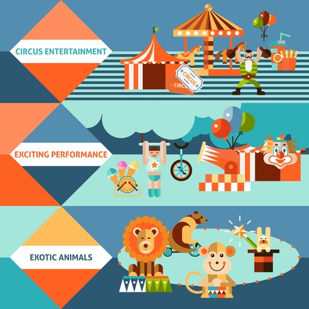 circus caravan: Circus entertainment flat banner set with exotic animals exciting performance isolated vector illustration.
