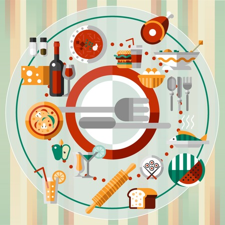 people eating: Food kitchen and cooking decorative icons set on plate with knife and fork vector illustration