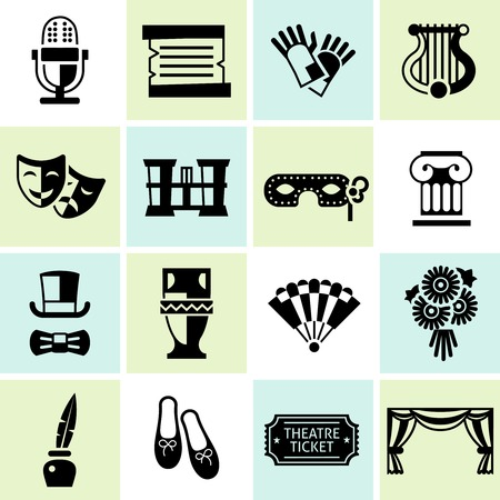 Theatre acting performance icons black set with ballet shoes microphone costume isolated vector illustration