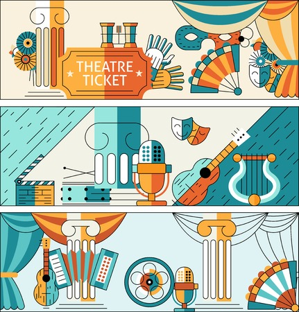 Theatre flat line banner set with ticket decorations masks isolated vector illustration