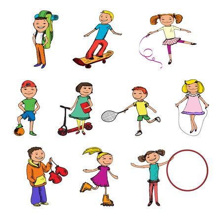 Children boys and girls with ball tennis racquet jumping rope sports colored sketch characters set isolated vector illustration Vector