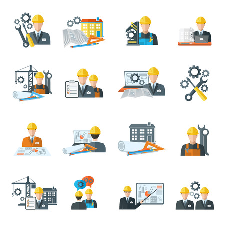men at work sign: Engineer construction equipment machine operator managing and manufacturing icons flat set isolated vector illustration