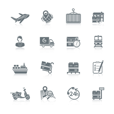 Logistic shipping freight service icons set of delivery truck box container ship isolated vector illustration.