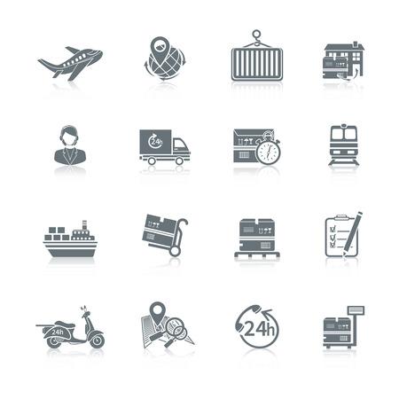 Logistieke scheepsvrachtdienst pictogrammen instellen van levering truck doos containerschip geïsoleerde vector illustratie.