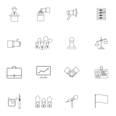 campaigning: Elections and voting outline icons set with ballot box debate speech isolated vector illustration