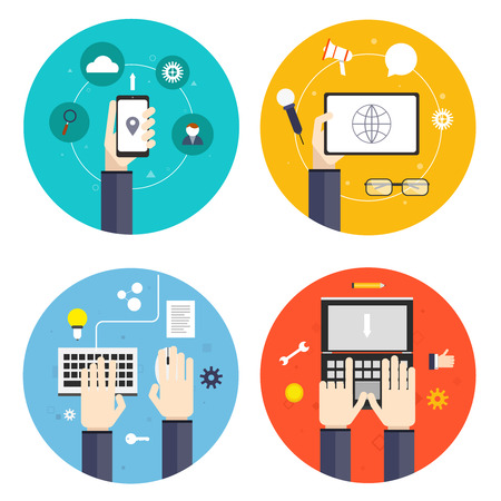 network and media: Human hands holding touching showing different flat icons set isolated vector illustration Illustration
