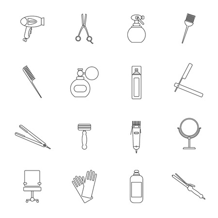 Hairdresser styling profession kit outline icon set with comb shampoo curler isolated vector illustration.
