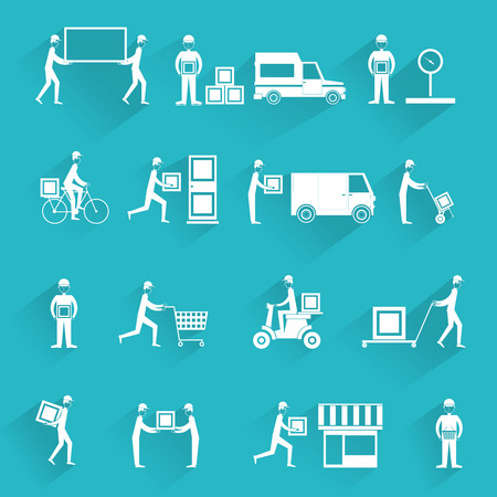 Delivery person freight logistic business service icons white set isolated vector illustration