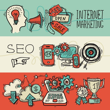 technology banner: SEO internet marketing banner design concept colored sketch icons set isolated vector illustration