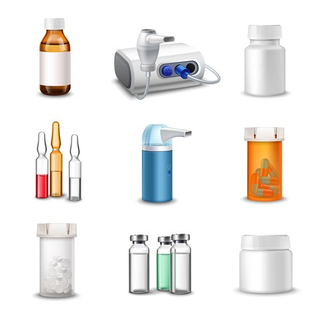 Medical bottles medicine pill containers decorative icons set realistic isolated vector illustration Illustration