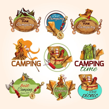 summer picnic: Camping time best fine summer picnic sketch colored emblems set isolated vector illustration