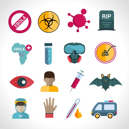infection: Ebola virus medical disease deadly infection symptoms icons set isolated isolated vector illustration