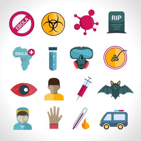 s�ntomas: Virus �bola enfermedades m�dicas mortales s�ntomas de infecci�n iconos conjunto aislado ilustraci�n vectorial aislado