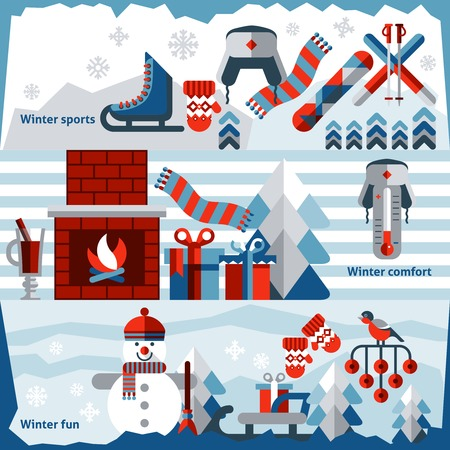Winter holidays banner set with sports comfort fun isolated vector illustration