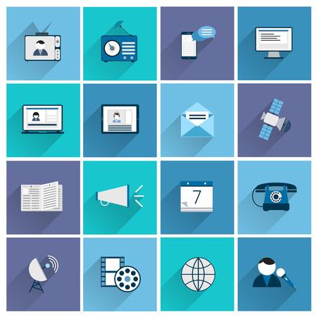 posting: Media communication icons flat set of posting promotion social marketing isolated vector illustration
