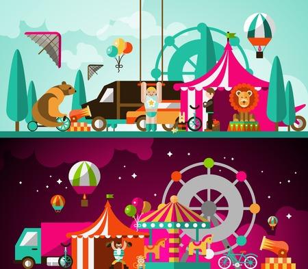 clown cirque: Cirque performances de divertissement de jour et de nuit fond illustration vectorielle