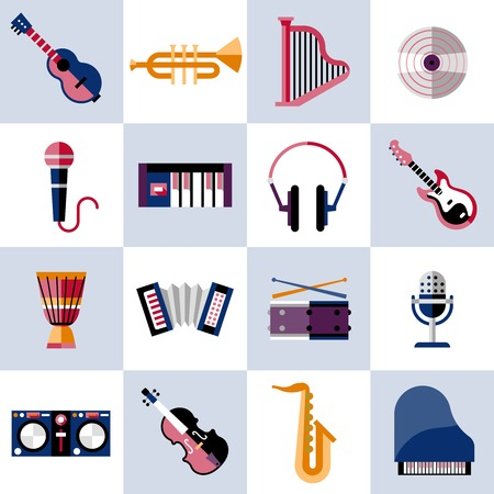 Musical instruments icons set with guitar trumpet harp vinyl isolated vector illustration. Vector