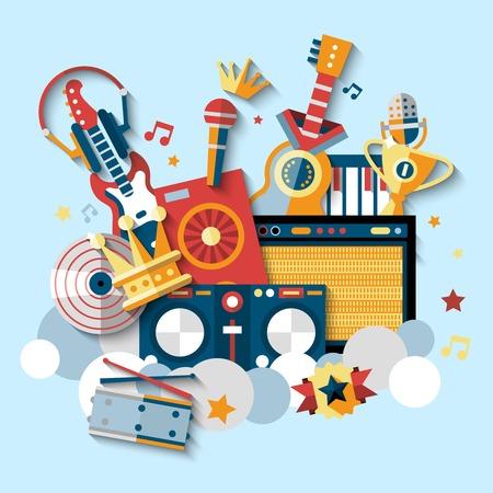 arpa: Instrumentos musicales iconos decorativos establecidos con la ilustración de los tambores de guitarra auriculares vector.