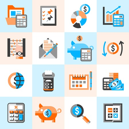 budget: Accounting money finance banking budget investment icons set isolated vector illustration.