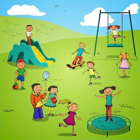 Children boys and girls sports colored sketch characters set on playground backdrop vector illustration Vector