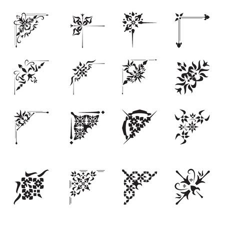 Vintage floral calligraphic floral vignette scroll corners ornamental design elements black set isolated vector illustration