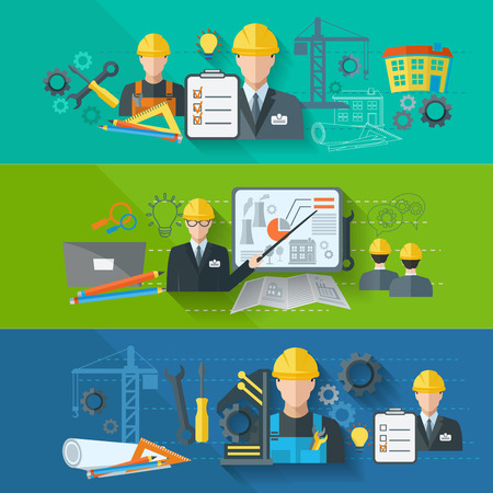 manufacturing: Engineer construction industrial factory manufacturing workers flat banner set isolated vector illustration