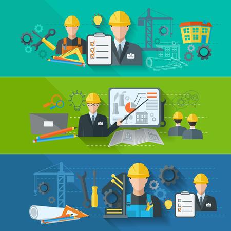 obrero trabajando: Trabajadores de la industria de la construcci�n de la f�brica industrial Ingeniero conjunto de banner plana aislado ilustraci�n vectorial