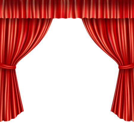 Theater stage red velvet open retro style curtain isolated on white background vector illustration
