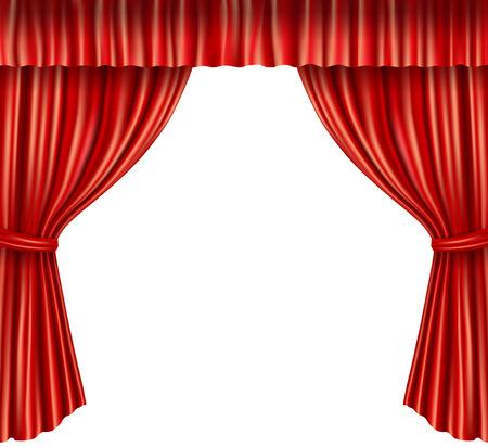 telon de teatro: Etapa del teatro terciopelo rojo abierto cortina estilo retro aislado sobre fondo blanco ilustraci�n vectorial