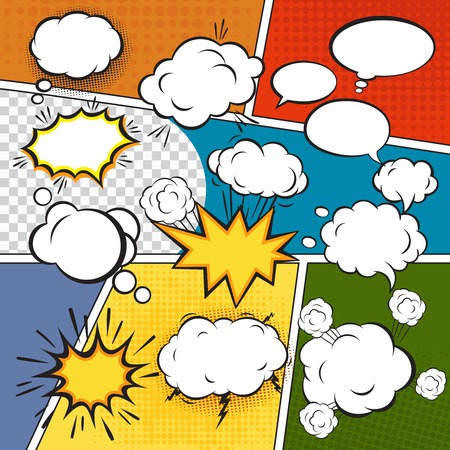 comico: Discurso de texto en blanco Burbujas c�micas en estilo del arte pop ilustraci�n conjunto de vectores