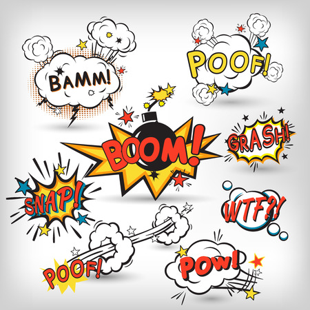 Comic speech bubbles in pop art style with bomb cartoon explosion splach powl snap boom poof text set vector illustration