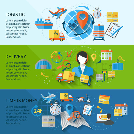 Logistic banner set with services time is money elements isolated vector illustration