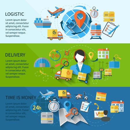 Logistic Banner mit Dienstleistungen Zeit eingestellt ist Geld Elemente isoliert Vektor-Illustration Standard-Bild - 33848690