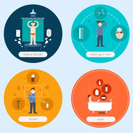 Hygiene flat icons set with taking shower washing hair shaving isolated vector illustration Ilustrace