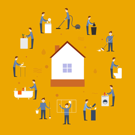 chores: Cleaning people flat icons set with washing elements and house in the middle isolated vector illustration