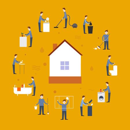 Limpieza de las personas iconos planos de conjunto con elementos de lavado y casa en la ilustración vectorial aislado medio