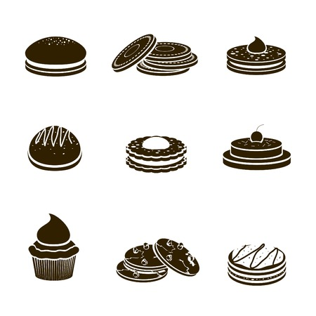 crumb: Sweet sugar tasty food cookies black decorative icons set with different decoration isolated vector illustration