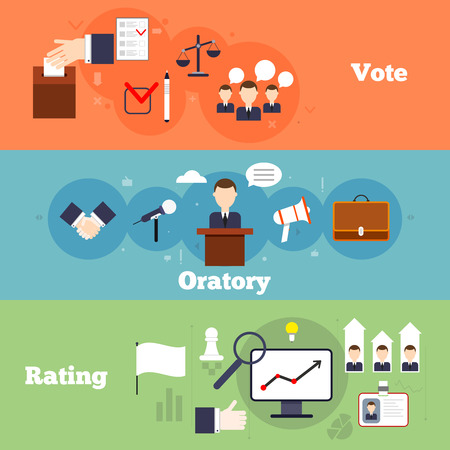 election: Elections and voting flat banner set with oratory rating isolate vector illustration Illustration