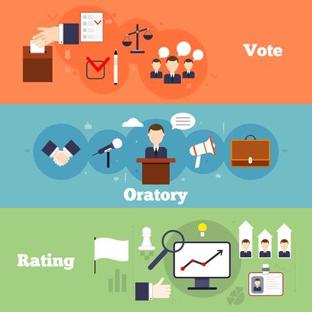 oratorio: Elezioni e votazioni striscione piatto fissati con grado di oratorio isolare illustrazione vettoriale