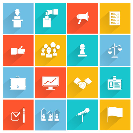 campaigning: Elections and voting white icons set with briefcase id chart isolated vector illustration