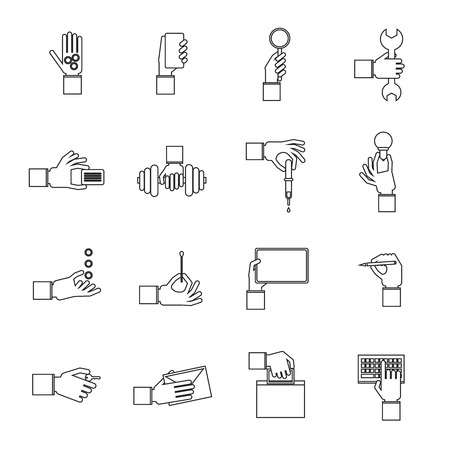 hand wrench: Human hands holding different objects outline icons set with money tablet pen isolated vector illustration