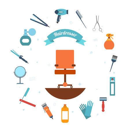 peluqueria: Peluquería conjunto decorativo con accesorios de belleza corte de pelo y el equipo con silla de peluquero en la ilustración vectorial media