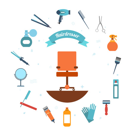 Hairdresser decorative set with beauty haircut accessories and equipment with hairstylist chair in the middle vector illustration