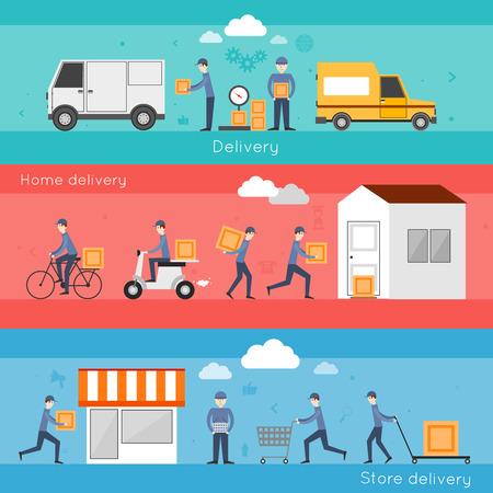 Bandera del envío de entrega establecida con los servicios de tienda casa aislado alimento ilustración vectorial