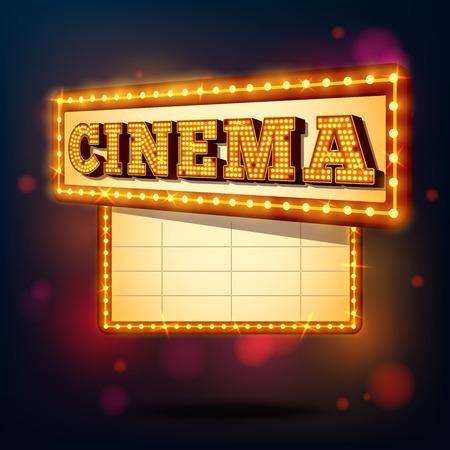 Retro cinema marquee neon lights advertising sign background vector illustration
