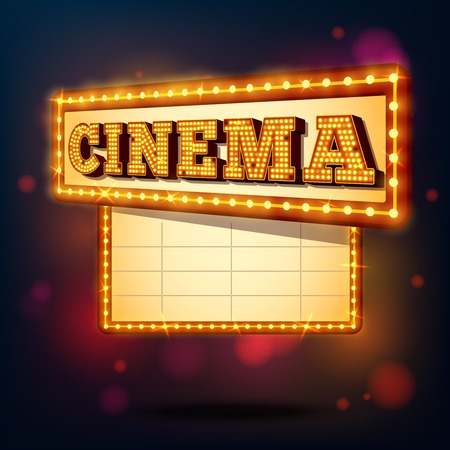marquee: Retro cinema marquee neon lights advertising sign background vector illustration