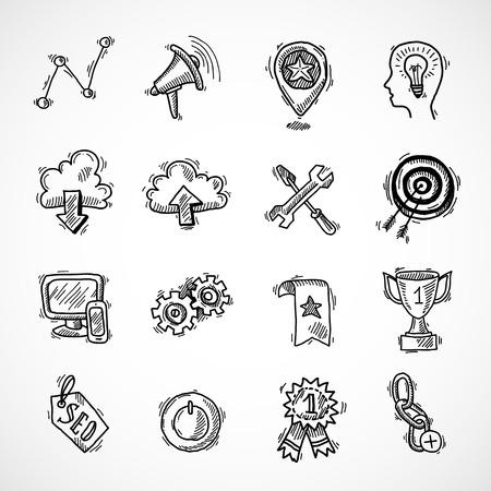 optimisation: SEO internet marketing sketch icons set with choice optimisation social network cloud isolated vector illustration