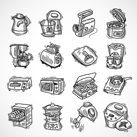 food processor: Kitchen equipment and appliances sketch decorative icons set with toaster coffee machine blender isolated vector illustration